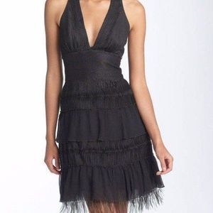BCBG Maxazria Black Lace Halter Dress